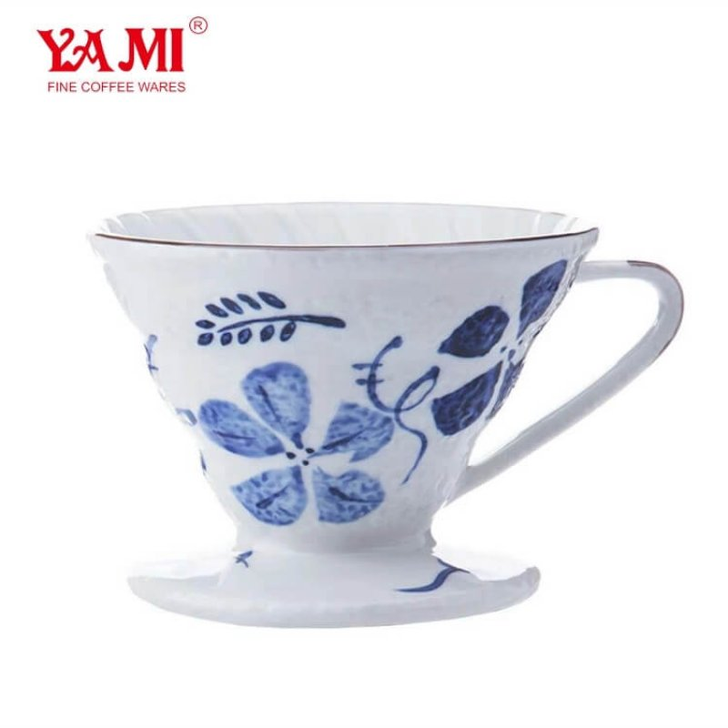 Custom Made Ceramic V02 Coffee DripperWhite and Red Camellia Coffee Filter Coffee Drip
