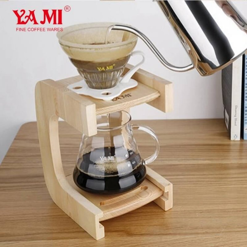 Yami Wooden Pour Over Coffee&Tea Drip StandOne Hole Pine Coffee Cup StandHand Filter Coffee Stand with Stainless Steel
