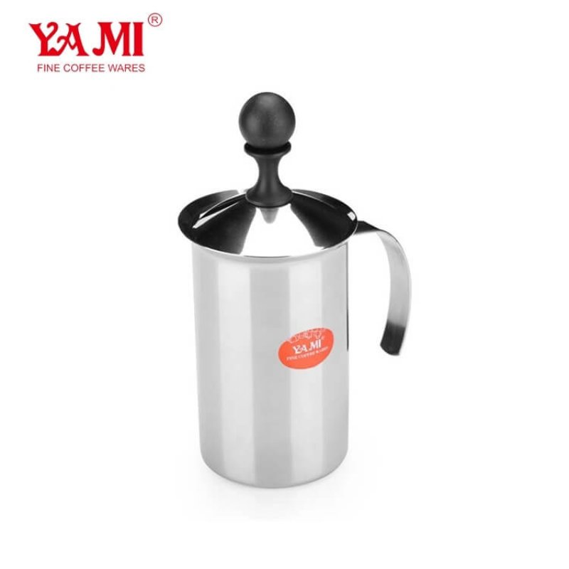 High Quality SS Handheld Milk Frother for Cappuccino and MochaDouble Mesh 200cc300cc400cc Coffee Frother