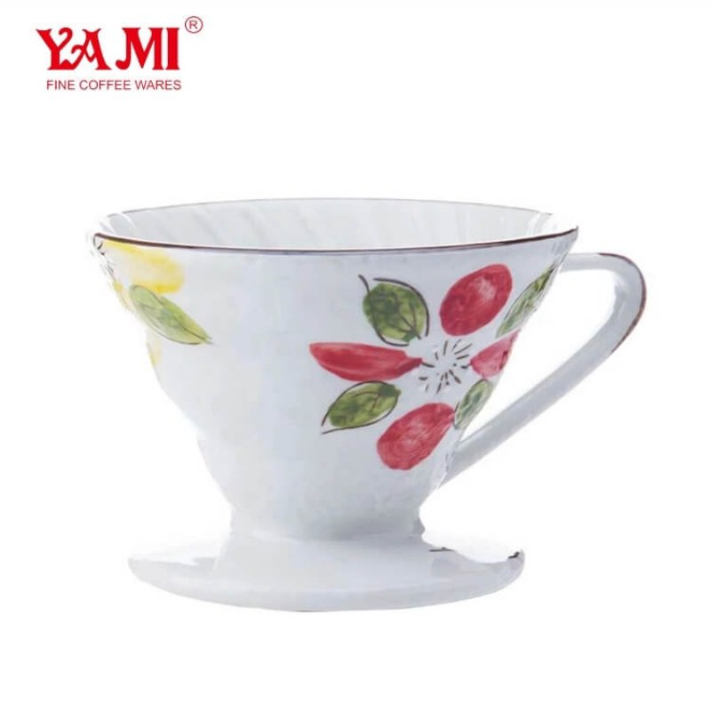 2019 High Quality 1-4 Cups Pour over Coffee Dripper Hand Painted Ceramic Coffee Dripper with StandPorcelain Coffee Filter